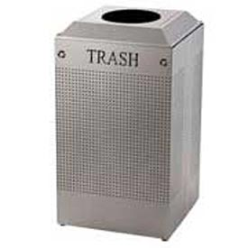 Rubbermaid® Silhouette DCR24T Recycling Receptacle w/Trash Opening, 29 Gallon - Silver Metallic