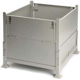 "Davco KD2GS-01 Collapsible Sheet Metal Steel Container 40-1/2""x34-1/2""x32"" 2 Gates Zinc-Galv"