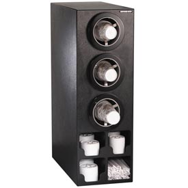 Dispense-Rite® Verticle 3 Cup Black Dispense Cabinet w/Organizers