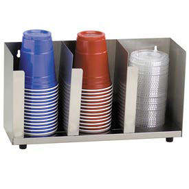 Dispense-Rite 3 Section Stainless Steel Cup and Lid Organizer by