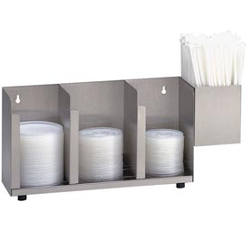 Dispense-Rite 3 Section Stainless Steel Cup, Lid & Straw Organizer by