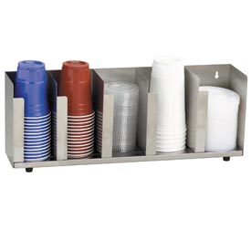 Dispense-Rite 5 Section Stainless Steel Cup and Lid Organizer by
