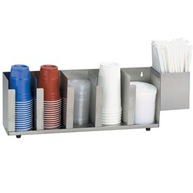 Dispense-Rite 5 Section Stainless Steel Cup, Lid & Straw Organizer by