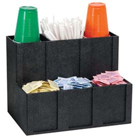 Cup, Lid, Straw & Condiment Organizer, 6 Sections, Black by