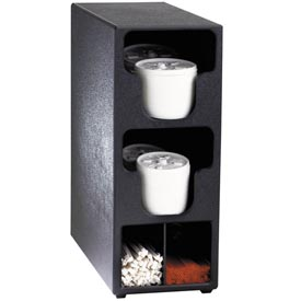 Dispense-Rite Counter Vertical Lid & Straw Organizer 2 Sections, Black by