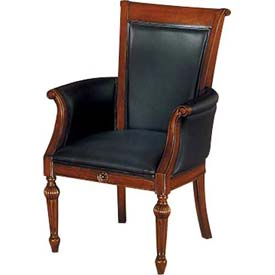 "Antigua High Back Guest Chair in Black Leather - 27-1/2""L x 28""W x 41""H"
