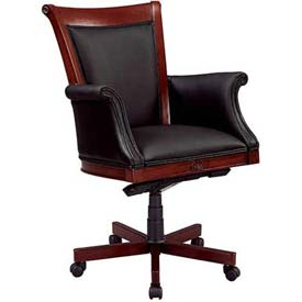 "Rue De Lyon Executive High Back Chair W/ Upholstered Arms in Black Leather - 28-3/4""L x 30-1/2""W"