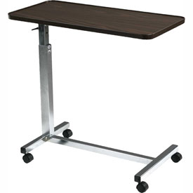 """Deluxe Tilt Top Overbed Table, 30""""W x 15""""D Tabletop, 29.5""""- 46"""" Height, Chrome Plated Base"""