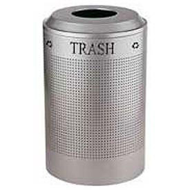 Rubbermaid® Silhouette DRR24T Recycling Receptacle w/Trash Opening, 26 Gallon - Silver Metallic