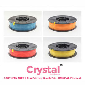 3D Stuffmaker PLA 3D Printer Crystal Filament, 1.75Mm, 0.75 Kg, Yellow by