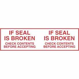 """Printed Tape """"If Seal Is Broken Check Contents Before Accepting"""" 2""""W x 110 Yds White/Red - Pkg Qty 36"""