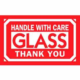 """Glass Handle With Care Thank You 2"""" x 3"""" - White / Red"""