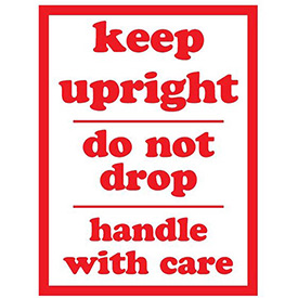 """Keep Upright Don't Drop 3"""" x 4"""" - White / Red"""