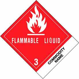 """Flammable Liquid Adhesives 4"""" x 4-3/4"""" - White / Red / Black"""