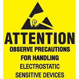 """Removable Attention Observe Precaution 4"""" x 4"""" - Yellow / Black"""