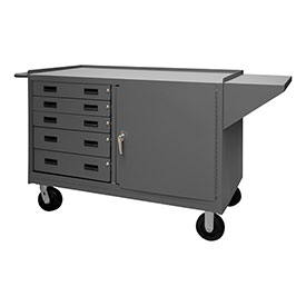 "Durham 3402-95 60""W x 24""D Mobile Bench Cabinet - 1 Shelf, 5 Drawers, Gray"