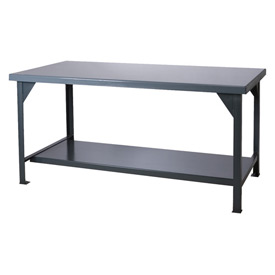 "Durham HDWB-3672-95 72""W x 36""D Fixed Legs Workbench - Steel Square Edge, Gray"