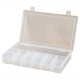 Durham Small Plastic Compartment Box SP13-CLEAR - 13 Compartments, 6-3/4x6-3/4x1-3/4 - Pkg Qty 10