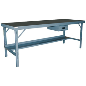 "Durham WBF-TH-3672-95 72""W x 36""D Folding Leg Workbench - Square Edge Shop Top, Gray"