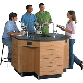 Diversified Woodcrafts Octagon Science Workstation with Drawer Base