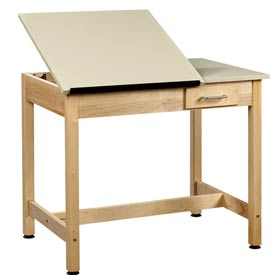 "Drafting Table 36""L x 24""W x 30""H 2 Piece Top Small Drawer by"