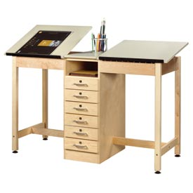"Drafting Table 60""L x 24""W 2 Station w/ 6 Drawers by"