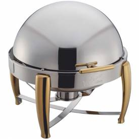 Winco 103A Full-Size Round Chafer, 6 Qt., Roll Top by