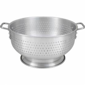 "Click here to buy Winco ALO-8BH Colander W/ Base, 8 Qt, 12""D, Aluminum Package Count 6."