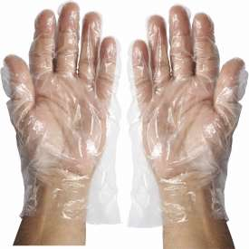 Winco GLP-L Disposable PE Gloves, Large, Clear - Pkg Qty 10
