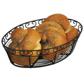 Winco WBKG-10O Oval Black Wire Bread Basket Package Count 24 by