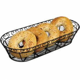 Winco WBKG-15 Oblong Black Wire Bread Basket Package Count 12 by