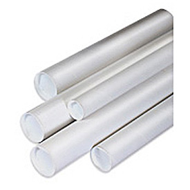 "Mailing Tube With Cap, 18""L x 1-1/2"" Diameter x 0.06 Wall Thickness, White, 50 Pack"