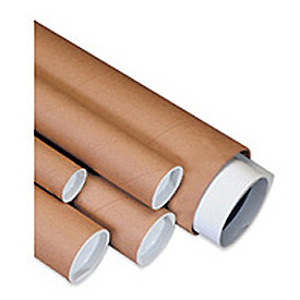 "Mailing Tube With Cap, 18""L x 1-1/2"" Diameter x 0.06 Wall Thickness, Kraft, 50 Pack"