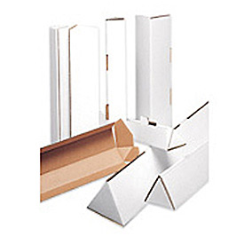 "Triangle Corrugated Mailing Tube 3"" x 18-1/4"" 200lb. ECT-32-B Test - White - 50 Pack"