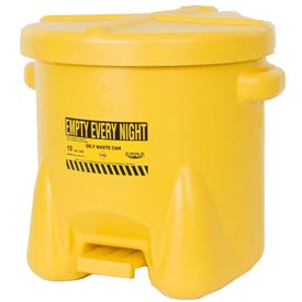 Eagle Poly Waste Can - Yellow with Foot Lever 10 Gallon