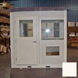 "Ebtech Pre-Assembled Security Builidng W/Swing Door, 5'W X 8'D, 24"" Overhang Roof, 4 Wall, Tan"