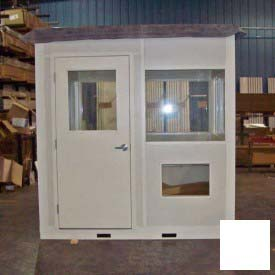 "Ebtech Pre-Assembled Security Builidng W/Sliding Door, 4'W X 8'D, 24"" Overhang Roof, 4 Wall, White"