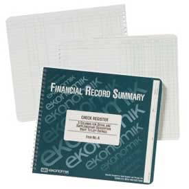 "Ekonomik Check Register Book, 3 Columns, 10"" x 8-3/4"", White, 1 Each by"