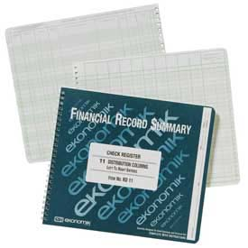 "Ekonomik Check Register Book, 11 Columns, 10"" x 8-3/4"", White, 1 Each by"