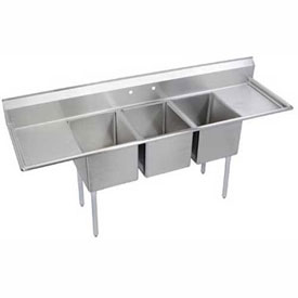 "Elkay 14-3C16X20-2-18X NSF Sink, 3-Compartment w/16""L x 20""W Bowl, 14"" Deep, (2) 18"" Drainboards"