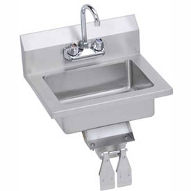 Elkay EHS-18-KVX Wall Economy Hand Sink w/ 14x10x5-in Bowl & Faucet, Knee Valve by