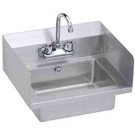 Elkay EHS-18-SDX Wall Economy Hand Sink w/ 14x10x5-in Bowl & Faucet, L-R Splash, Overflow by