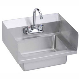 Elkay EHS-18-SSX Wall Economy Hand Sink w/ 14x10x5-in Bowl & Faucet, L-R Splash by