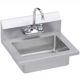 Elkay EHS-18X Wall Economy Hand Sink w/ 14x10x5-in Bowl & Gooseneck Faucet by