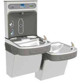 Elkay EZH2O Water Refilling Station, Wall Mount, Bi-Level, W/Filter, Stainless Steel, LZSTL8WSSK