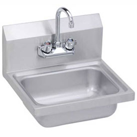 Elkay SEHS-17X Wall Hand Sink w/ Gooseneck Faucet & Basket Strainer, 17x15-in by