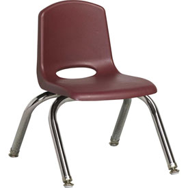 "ECR4Kids Classroom Stack Chair with Feet Glides - 10"" - Burgundy - Pkg Qty 6"