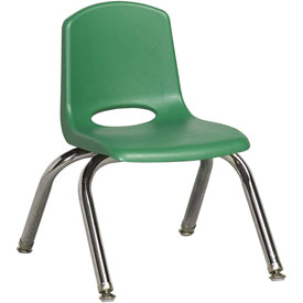 "ECR4Kids Classroom Stack Chair with Feet Glides - 10"" - Green - Pkg Qty 6"