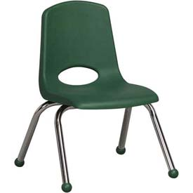 "ECR4Kids Classroom Stack Chair - 12"" - Green - Pkg Qty 6"