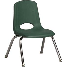 "ECR4Kids Classroom Stack Chair with Feet Glides - 12"" - Green - Pkg Qty 6"